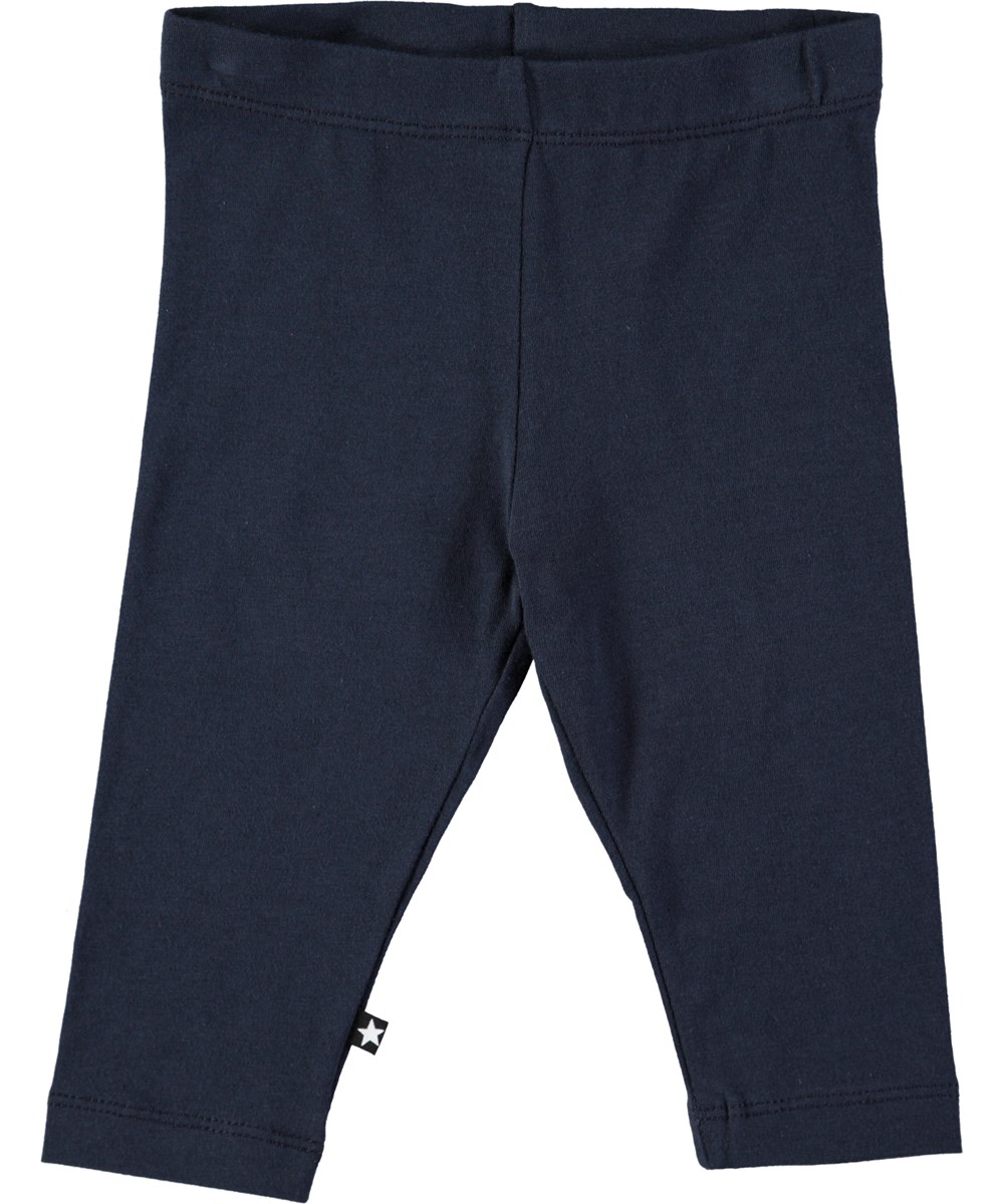 Nette solid - Dark Navy - Mørkeblå baby leggings