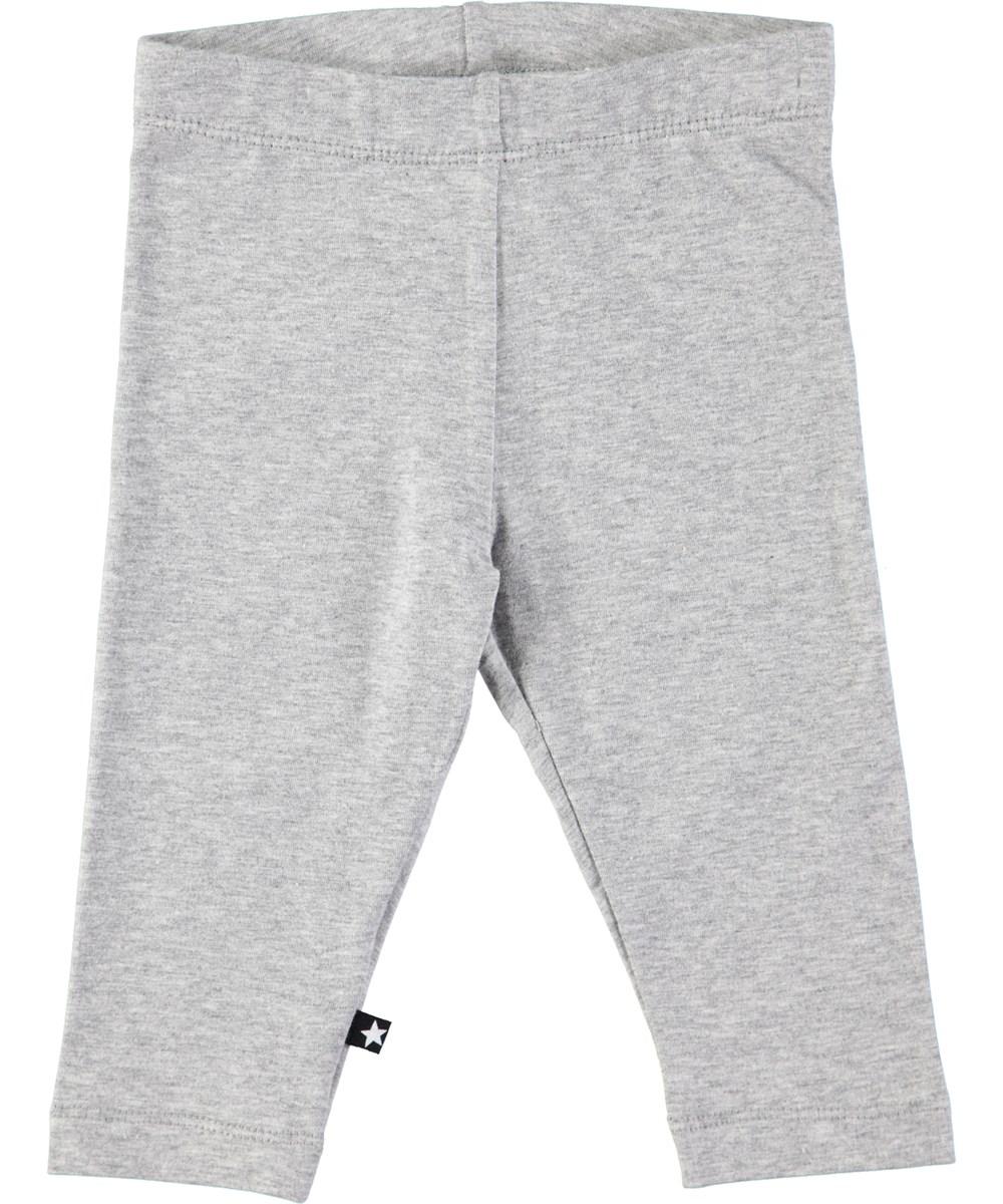 Nette solid - Grey Melange - Grå baby leggings