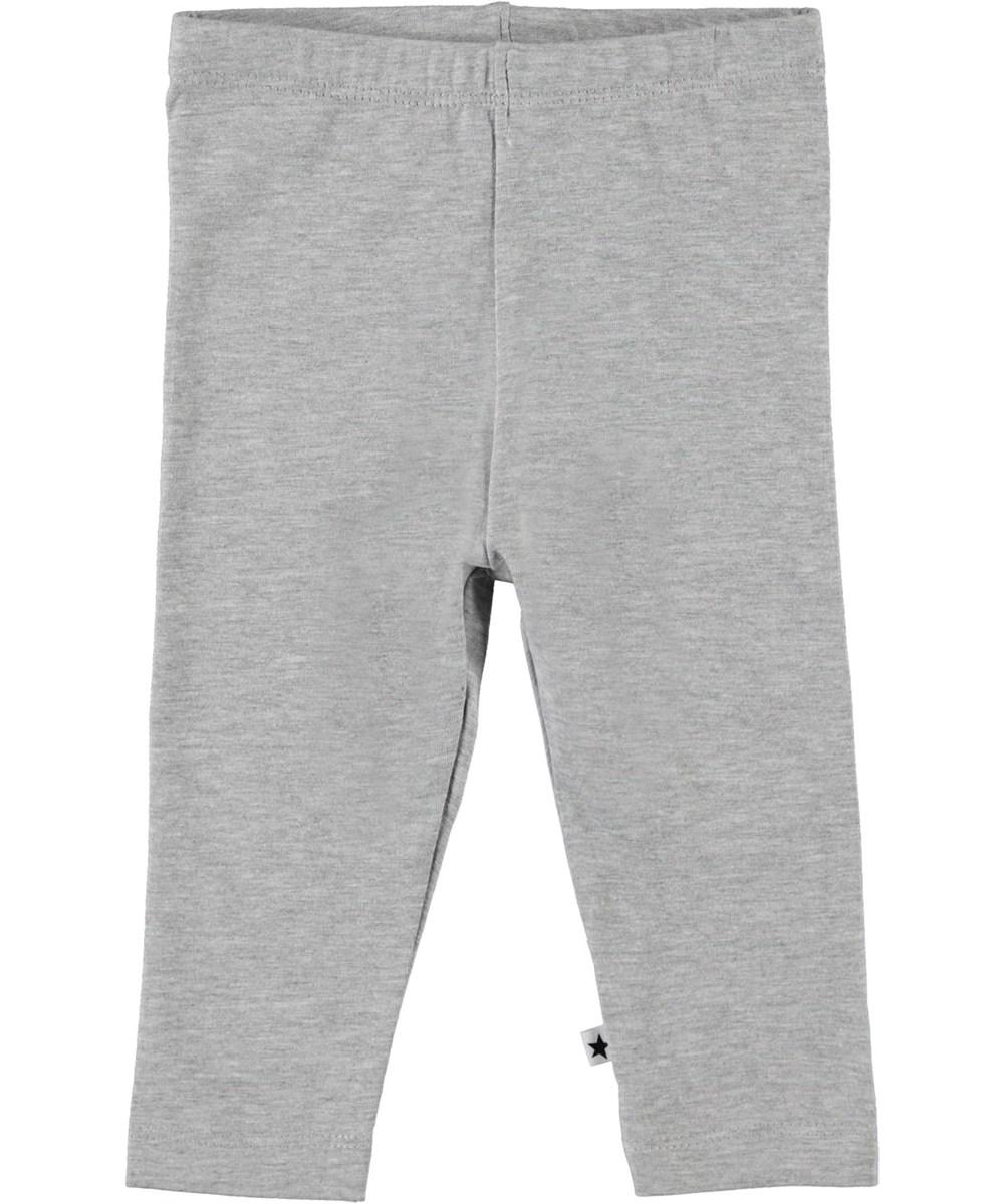 Nette solid - Light Grey Melange - Økologiske grå baby leggings