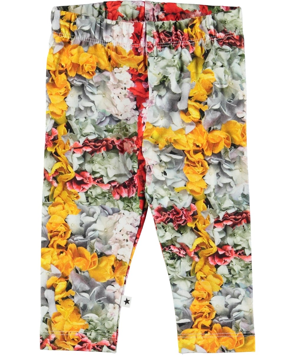 Stefanie - Checked Flowers - Baby leggings med blomster.