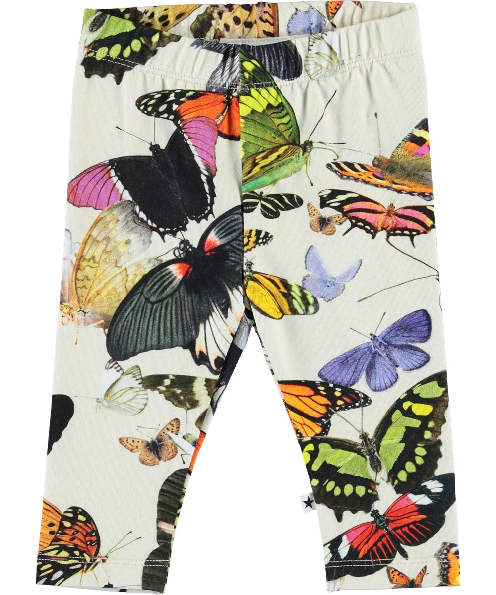 Stefanie - Papillon - Økologiske baby leggings med sommerfugle