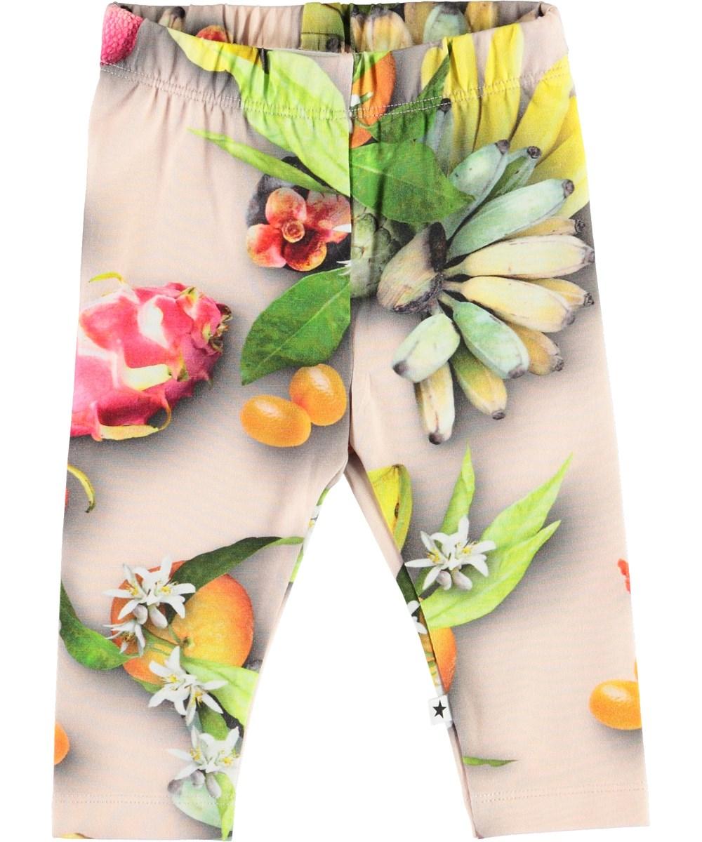 Stefanie - Tutti Frutti - Økologiske baby leggings med frugter