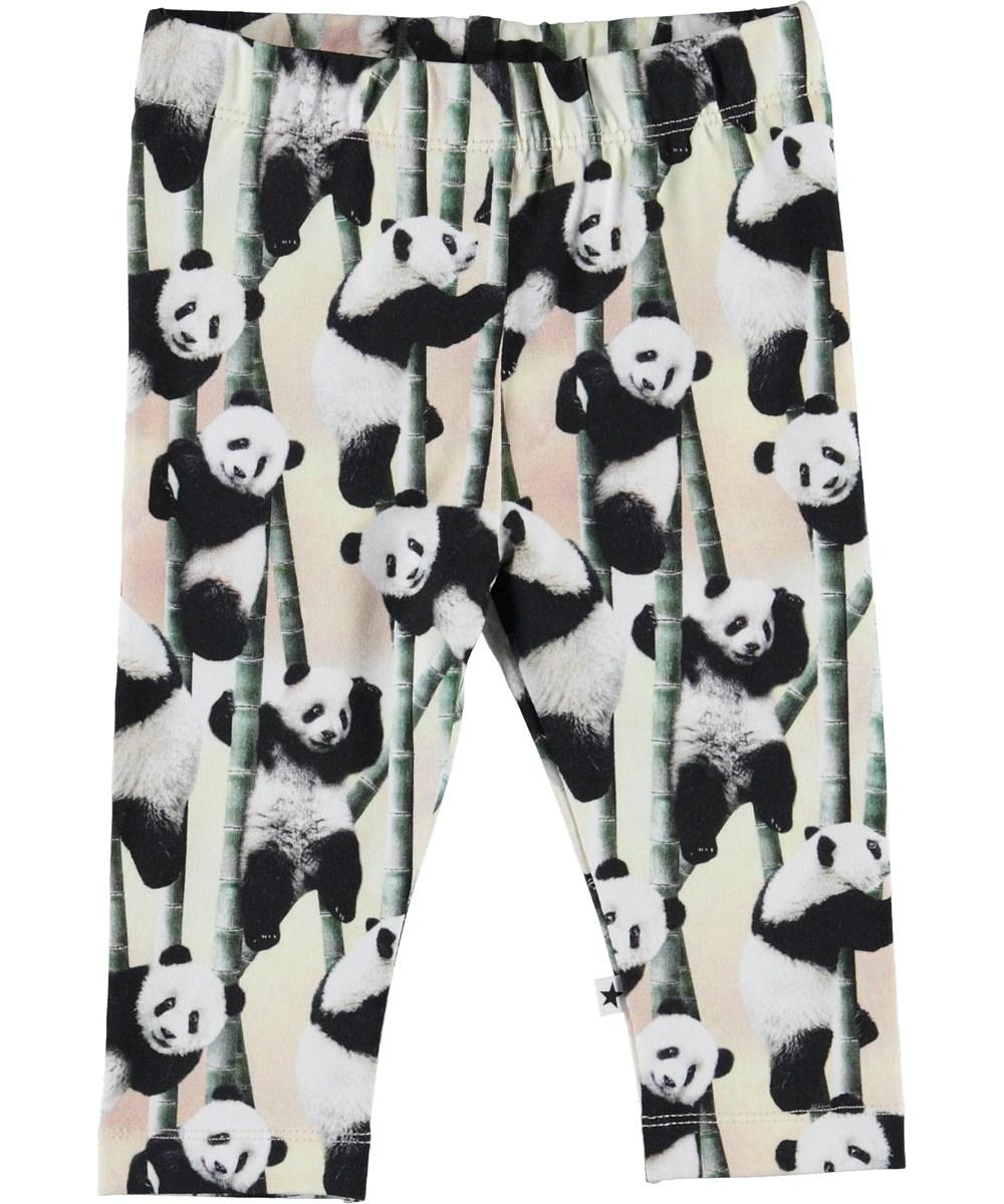 Stefanie - Yin Yang - Økologiske baby leggings med pandaer