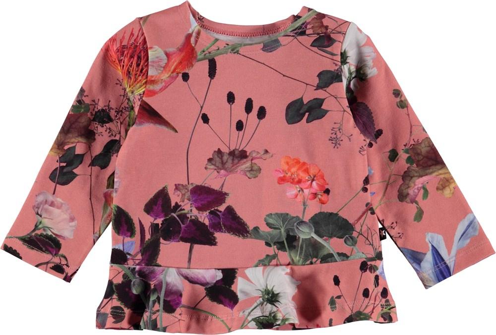 Elisabeth - Flowers Of The World - Blomstret baby bluse med peplum.
