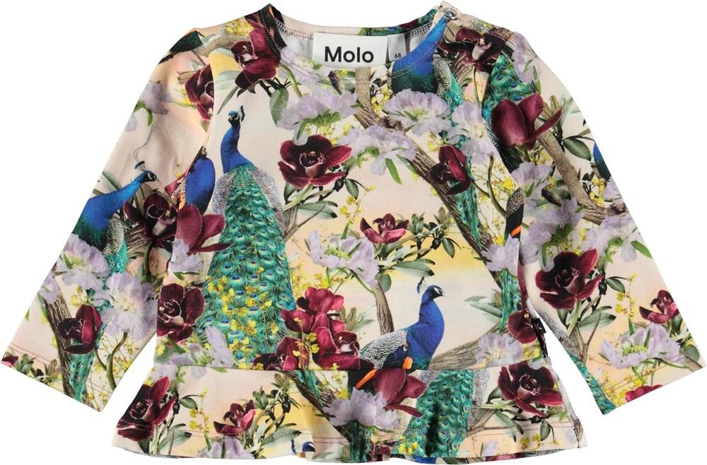 Elisabeth - Oriental Peacocks - Baby bluse med påfugle.
