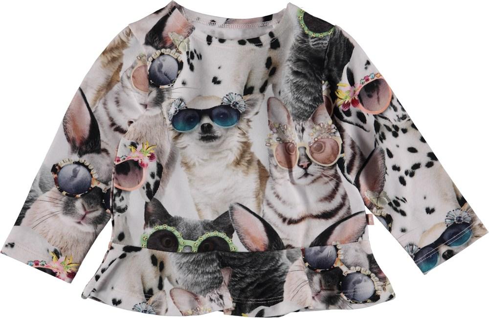 Elisabeth - Sunny Funny - Baby bluse med dyre print og peplum.