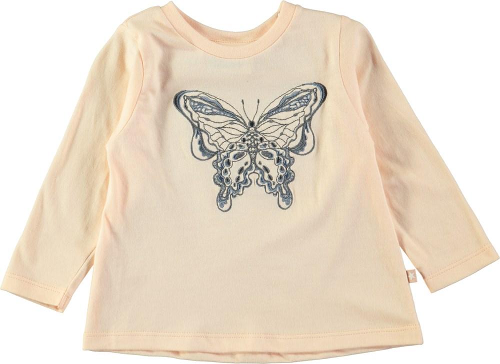 Ella - Dawn - Pudderfarvet baby bluse med sommerfuglebroderi
