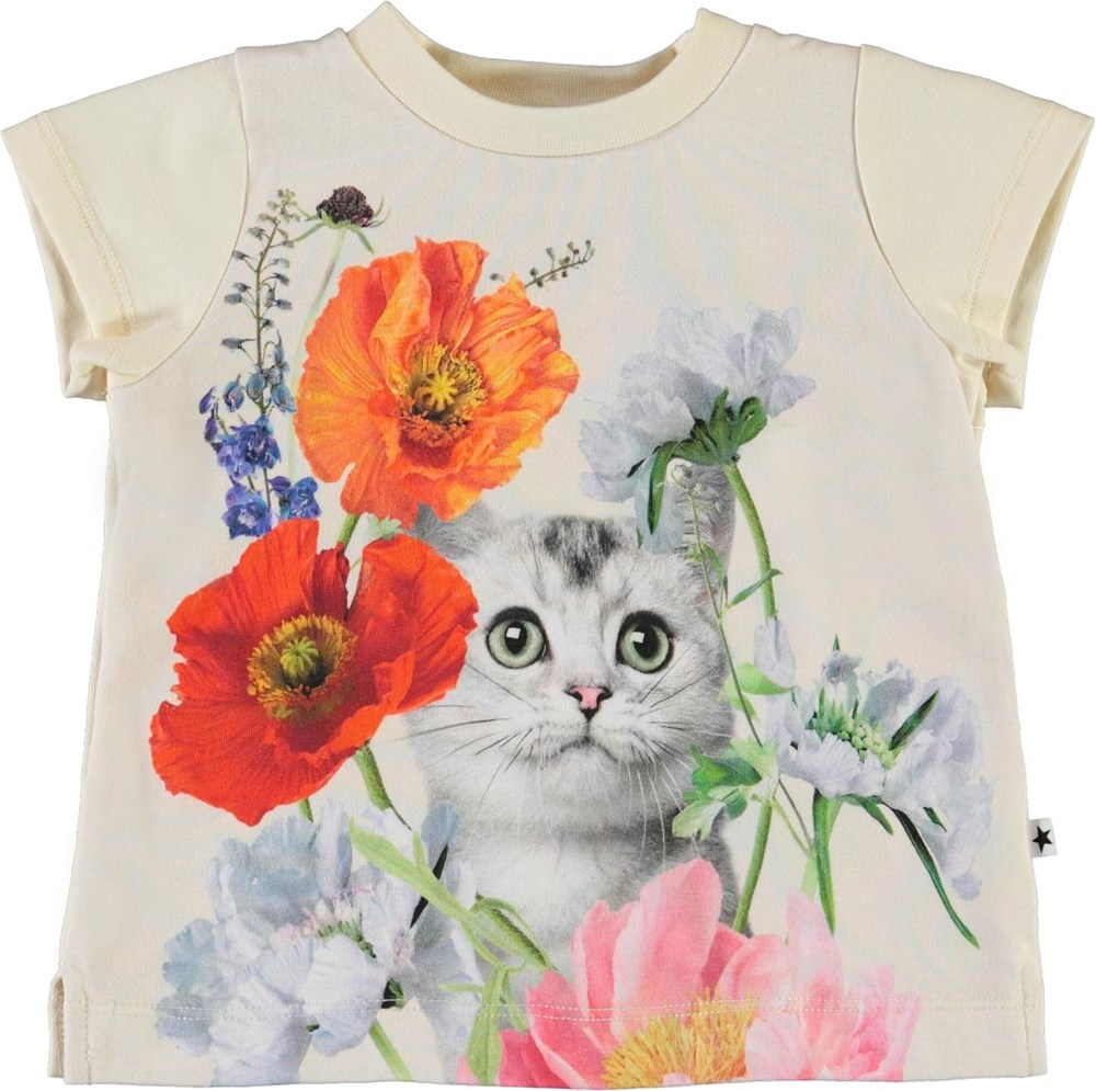 Elly - Kitty Cat - Økologisk baby t-shirt med blomster