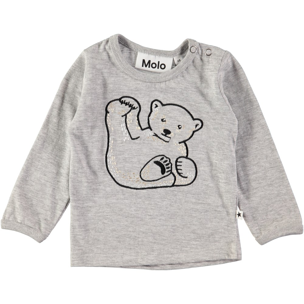 Elodie - Icebear Emb_ - Langærmet, grå baby bluse med broderet isbjørn