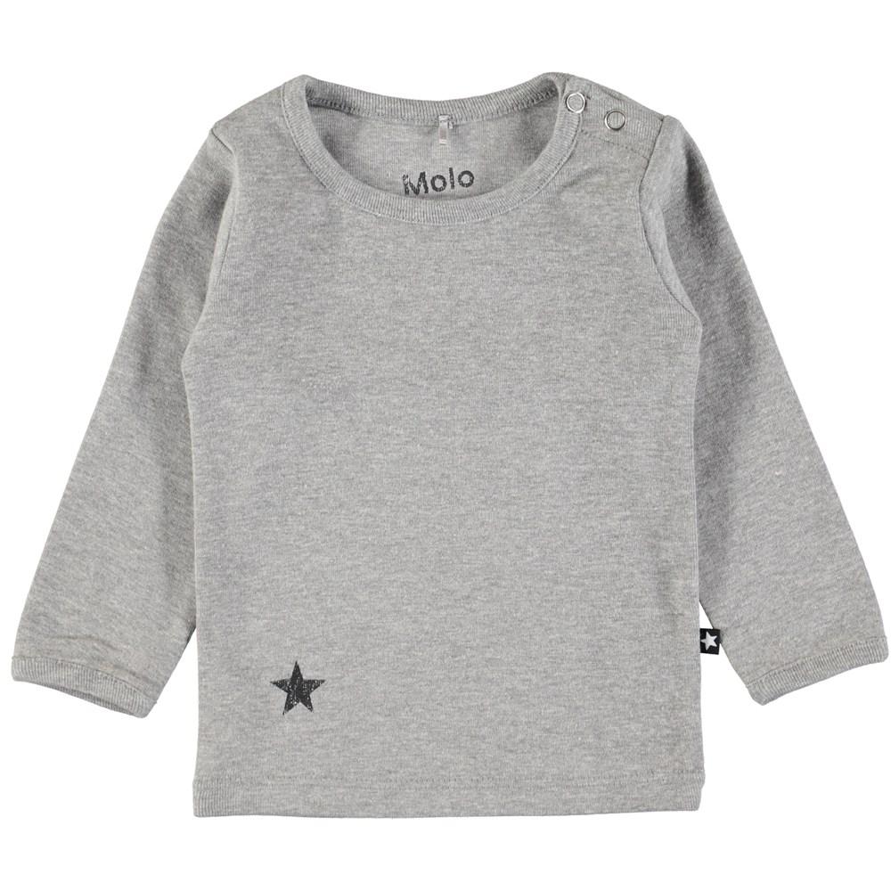 Elona - Grey Melange - Grå basis bluse til baby