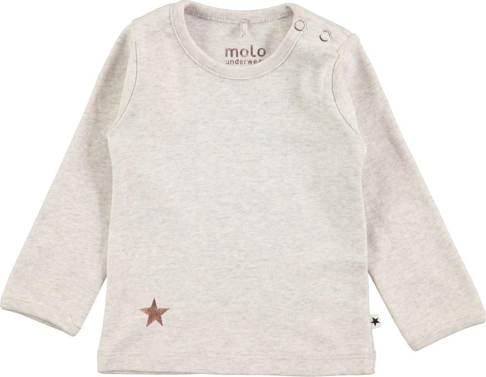 Elona - Light Grey Melange - Gråmeleret, basis baby t-shirt med lange ærmer