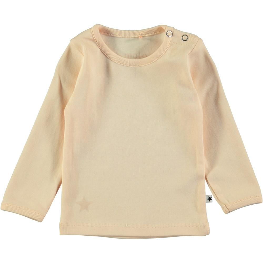 Elona - Peach Puff - Ferskenfarvet, basis baby t-shirt med lange ærmer
