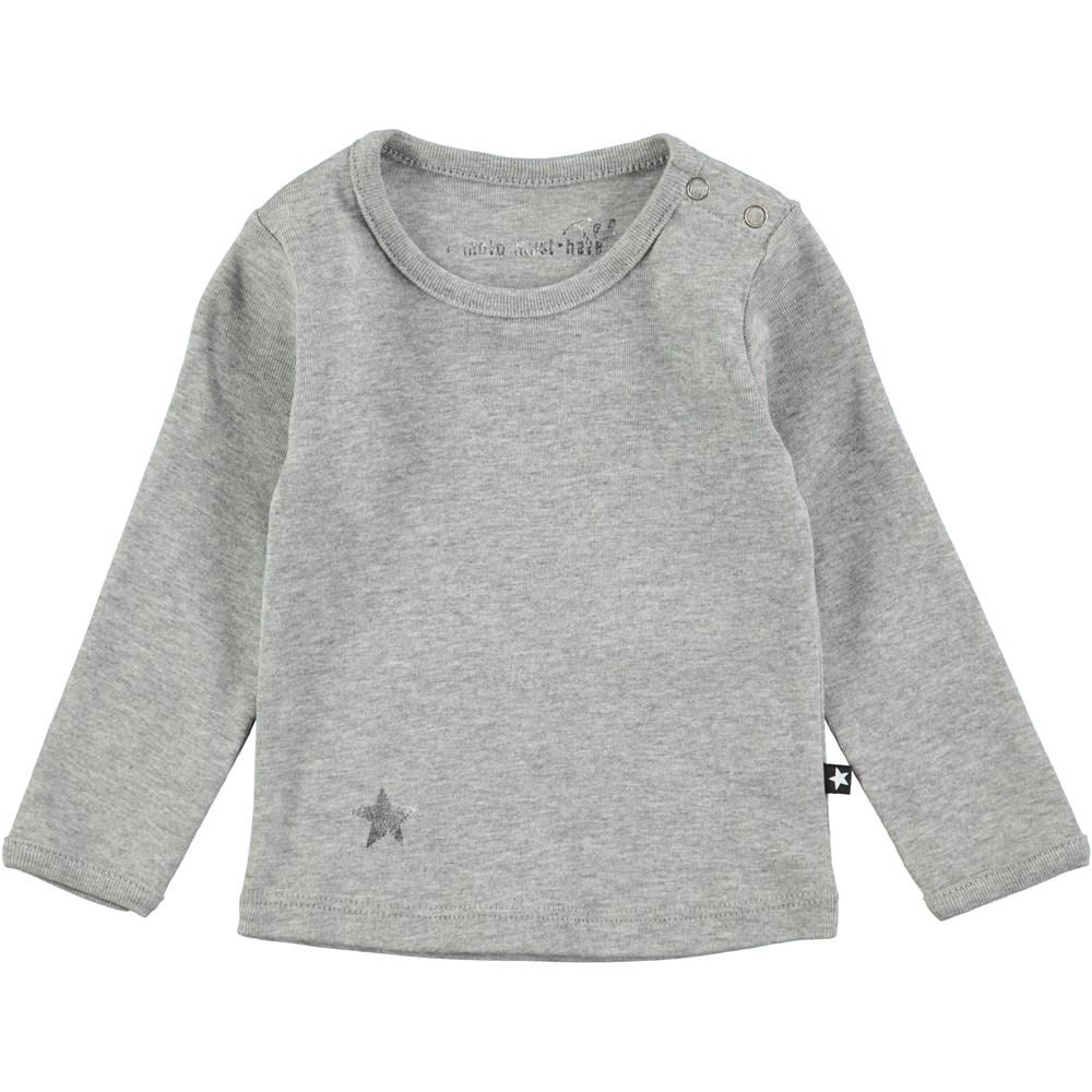 Elona - Grey Melange - Langærmet t-shirt med trykknap
