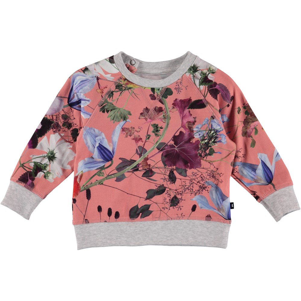 Elsa - Flowers Of The World - Blomstret baby sweatshirt.