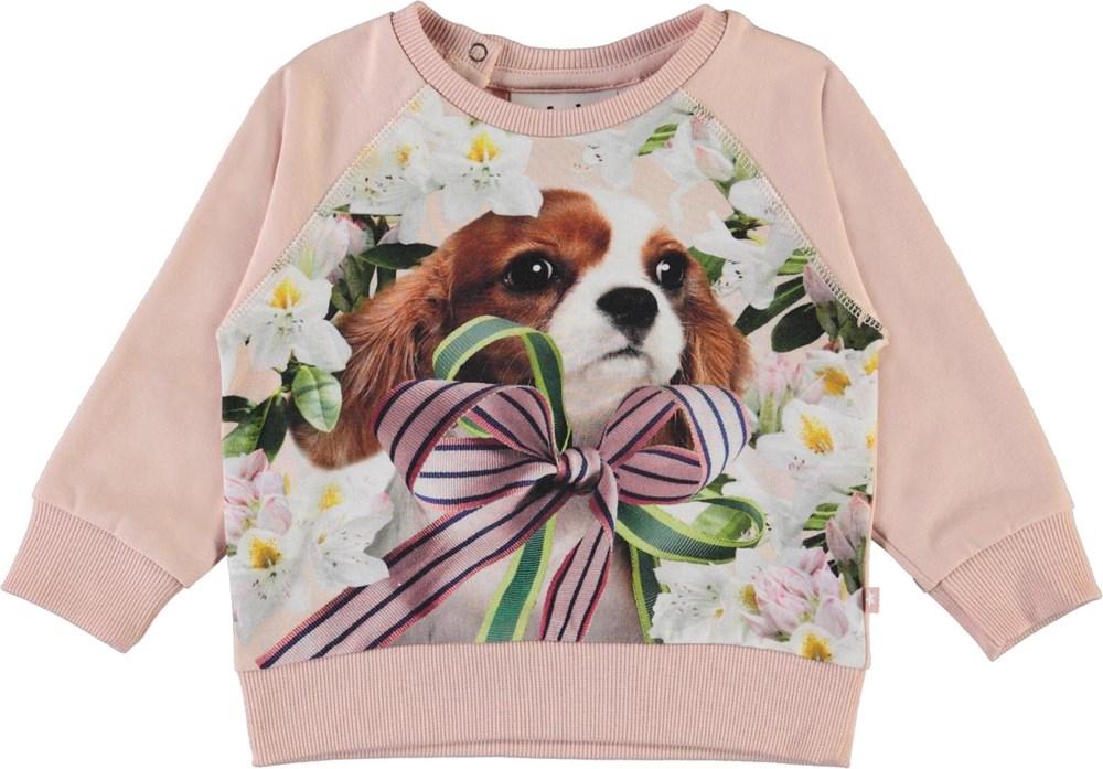 Elsa - Pretty Puppy_Baby - Økologisk babybluse med hund og blomster