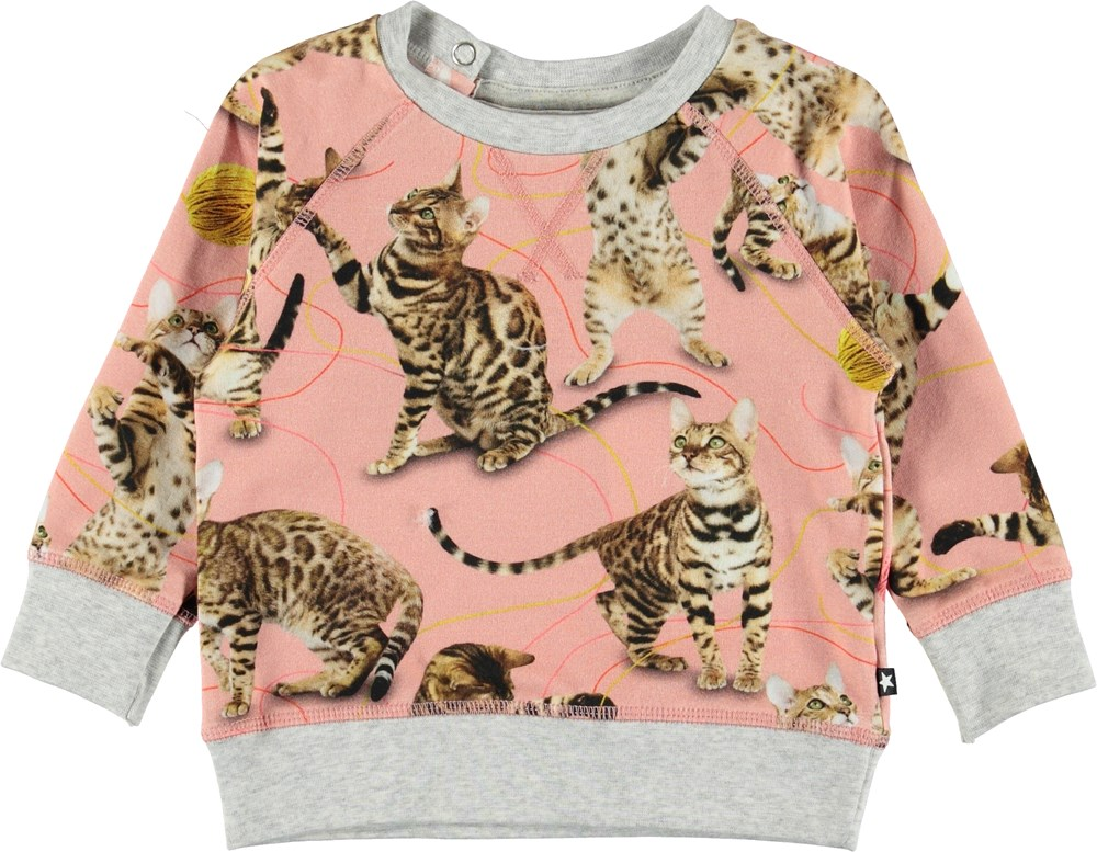 Elsa - Wannabe Leopard - Lyserød baby bluse med katte.