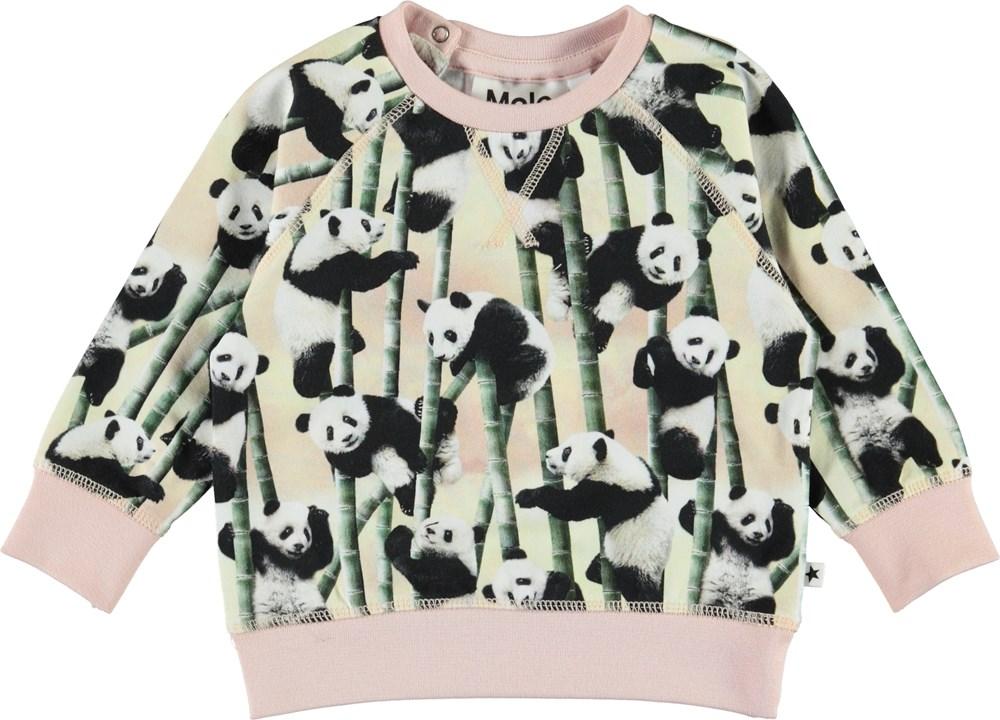 Elsa - Yin Yang - Økologisk baby bluse med pandaer