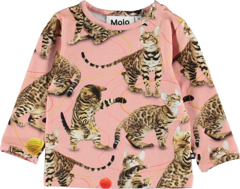 Eva - Wannabe Leopard - Lyserød baby bluse med katte.