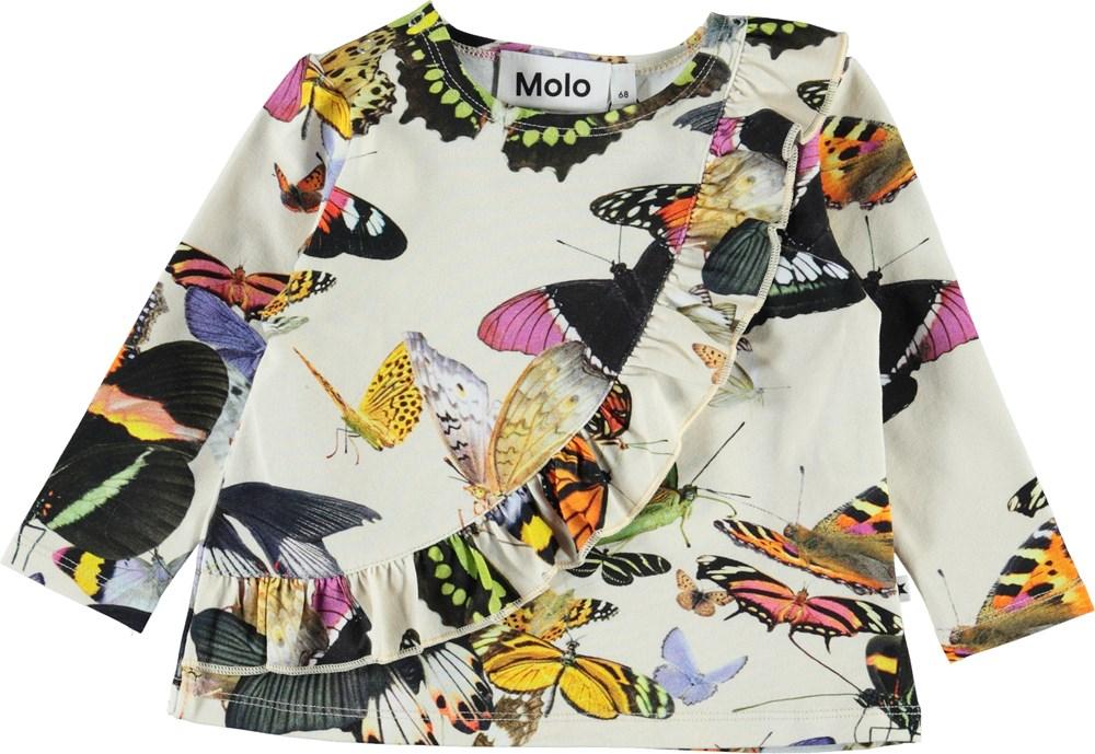 Evelyn - Papillon - Økologisk baby bluse med sommerfugle