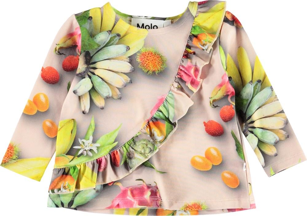 Evelyn - Tutti Frutti - Økologisk baby bluse med frugter