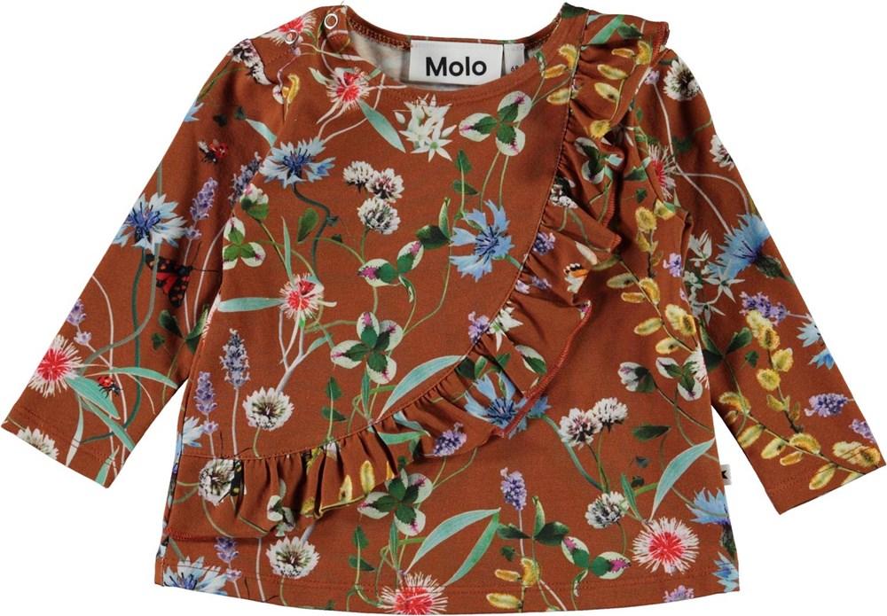 Evelyn - Wildflowers - Brun babybluse med blomster og flæse