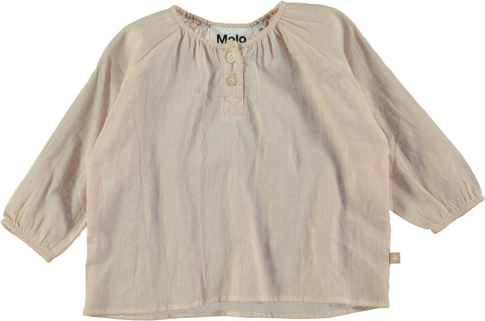 Rosemary - Peach Puff - Langærmet, ferskenfarvet baby t-shirt