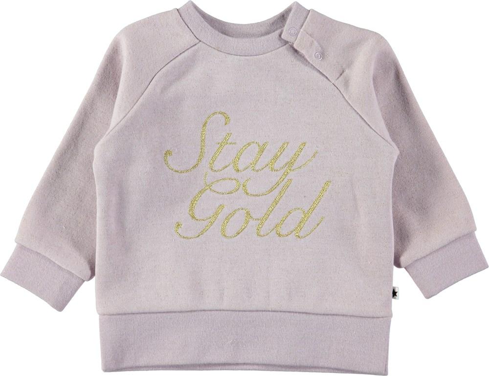 Demi - Lilac - Lilla baby sweatshirt med guldfarvet tekst