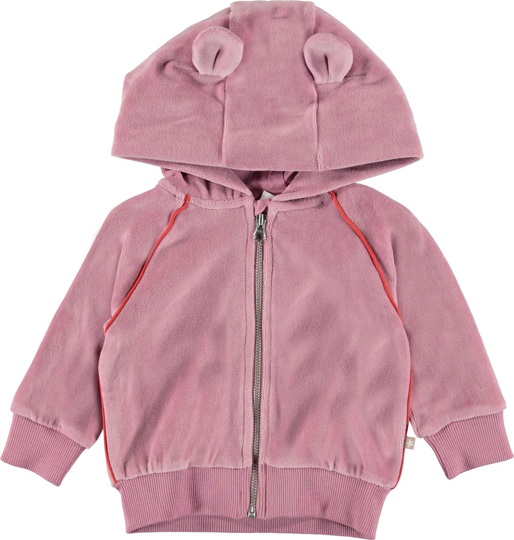Dorothy - Purple Haze - Rosa velour baby sweatshirt.