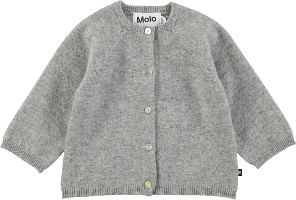 Ginger - Grey Melange - Grå cardigan i uld