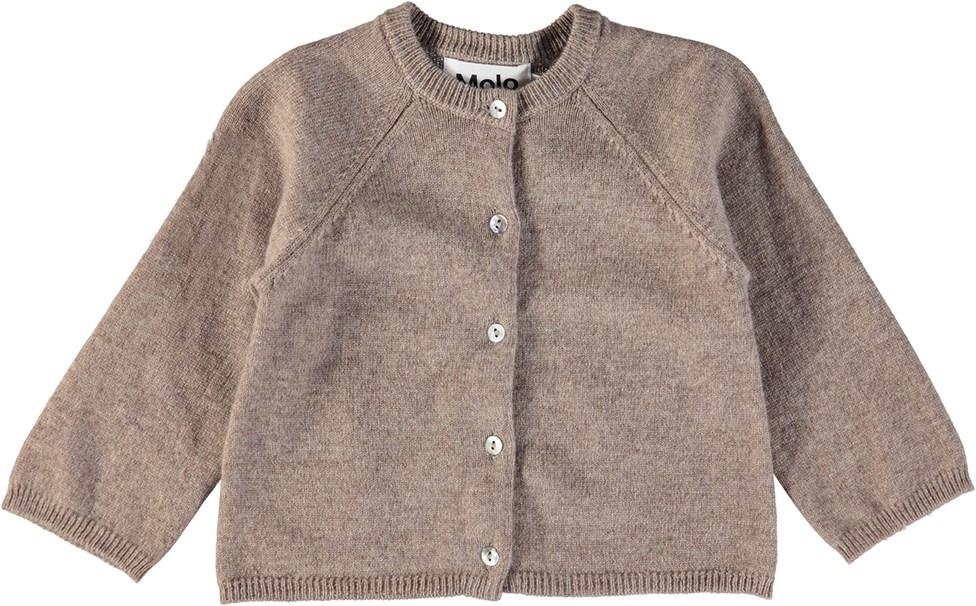Ginger - Oatmeal Melange - Brun baby cardigan i uld og cashmere