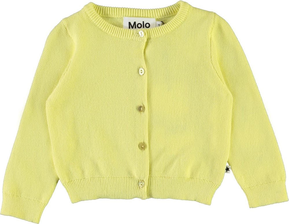Ginny - Pale Lemon - Gul strikket baby cardigan