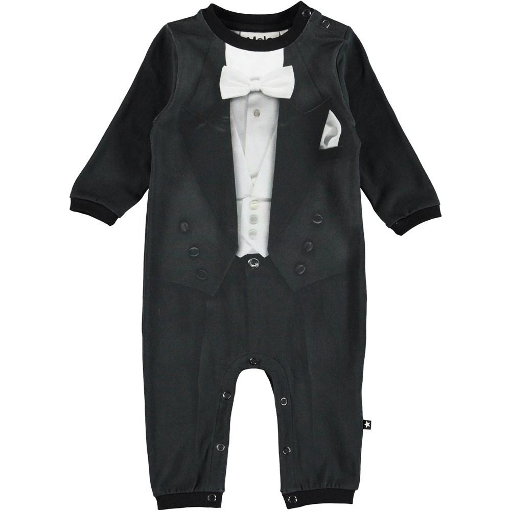 Festlig - Smoking - Långärmad, svart heldräkt till baby med smoking tryck