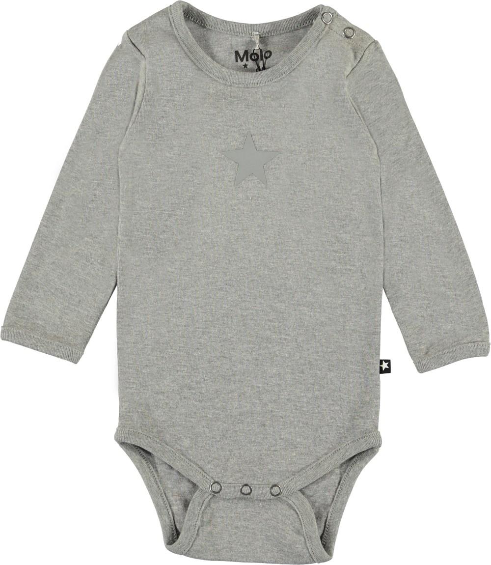 Foss - Grey Melange - Ekologisk grå baby body