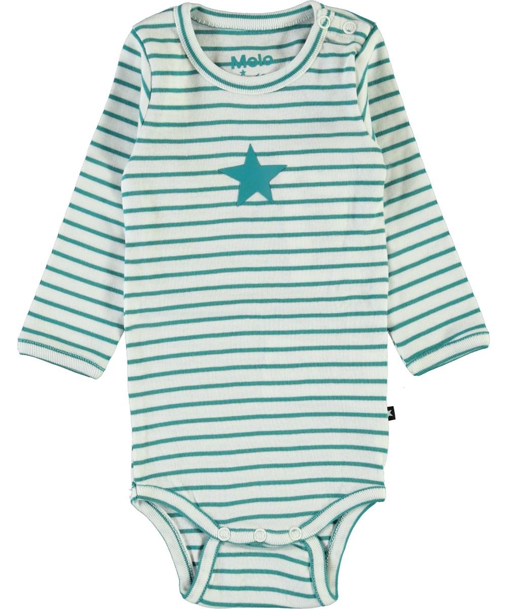 Foss - Kerosene Stripe - Ekologisk grön randig baby body
