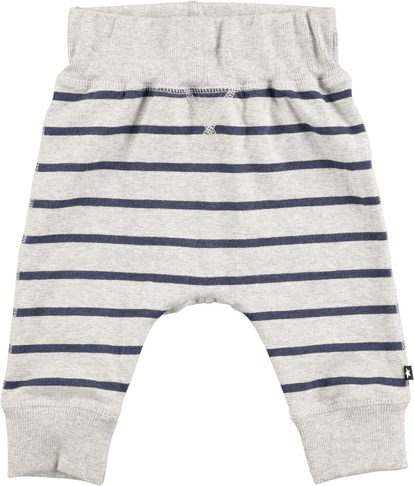 Sammy - Infinity Stripe - Rymliga, grå baby byxor med ränder