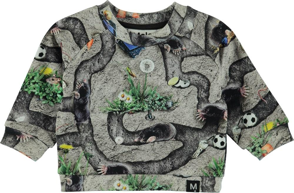 Dag - Moles - Baby sweatshirt med tryck av mullvadgångar.