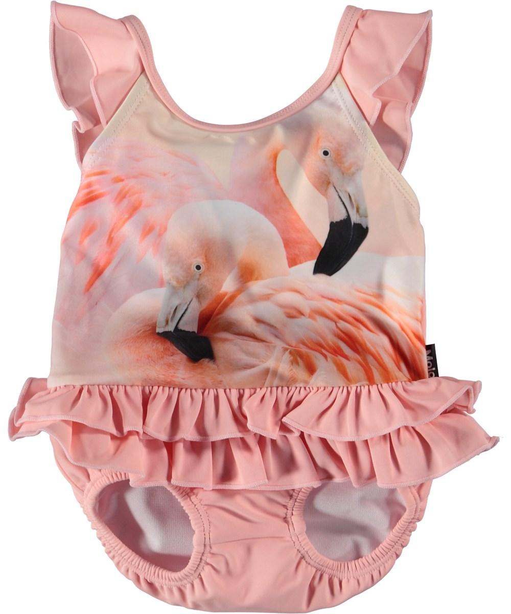 Nalani - Flamingo Dream - Lyserød baby badedragt med flamingoer.