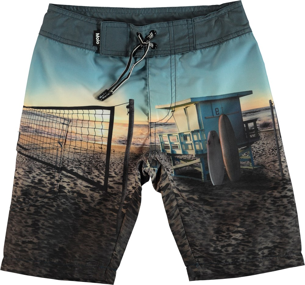 Nalvaro - On The Beach - Boardies med strand print.