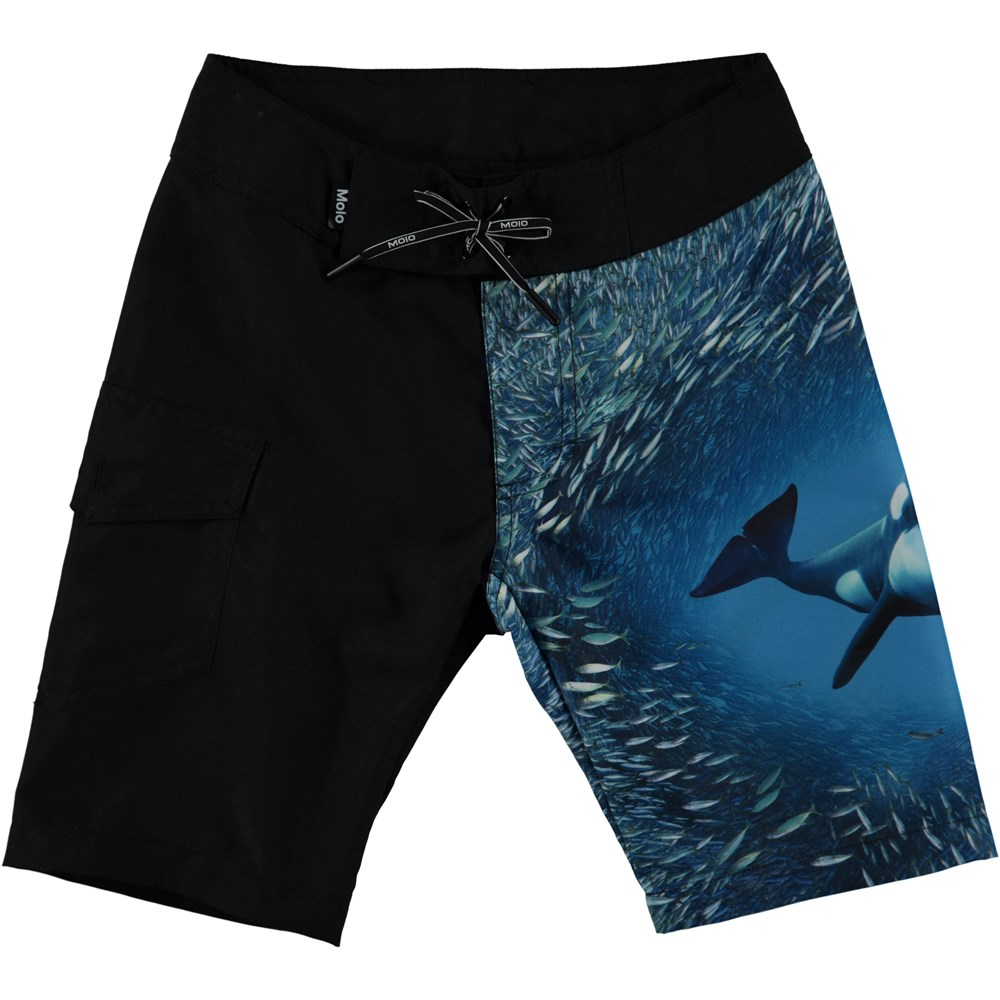 Nalvaro - Orcra - Loose fitting boardshorts with digital orca print