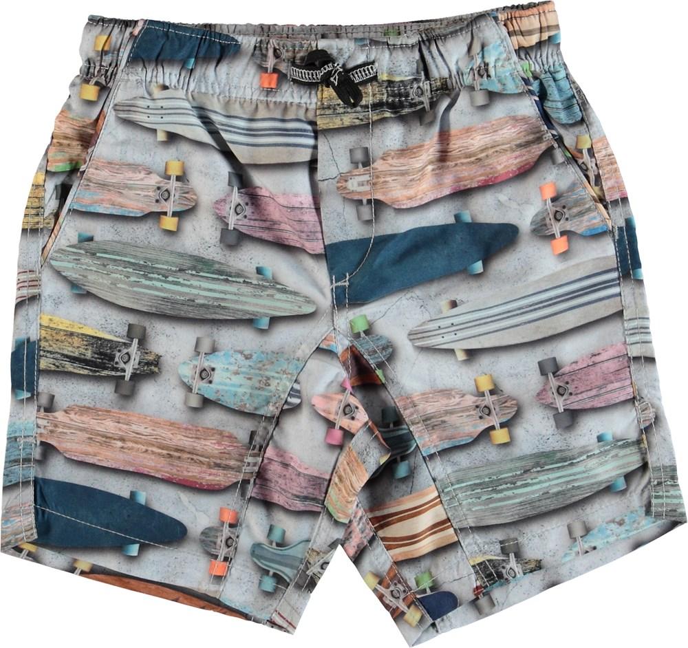 Nario - Board Stripe - Badeshorts med lomme bagpå
