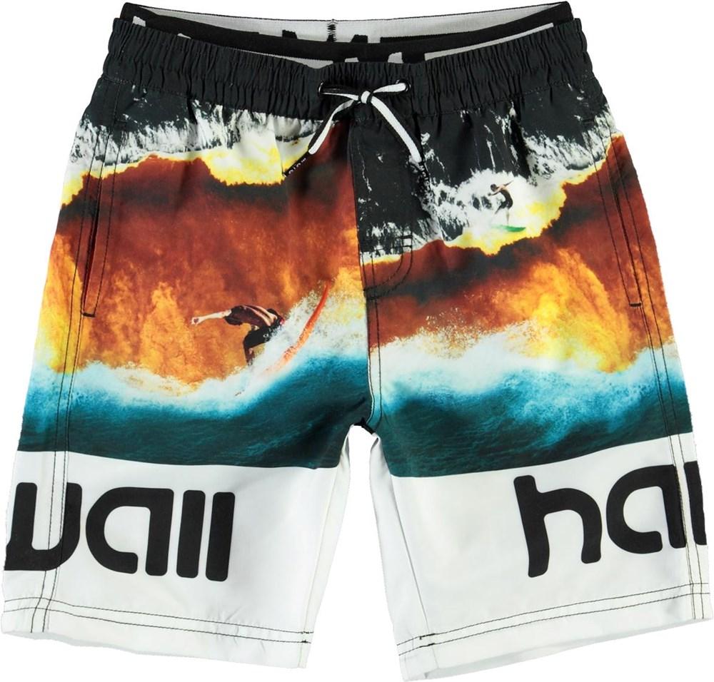 Neal - Colour Block Waves - UV lange badeshorts med hawaii print