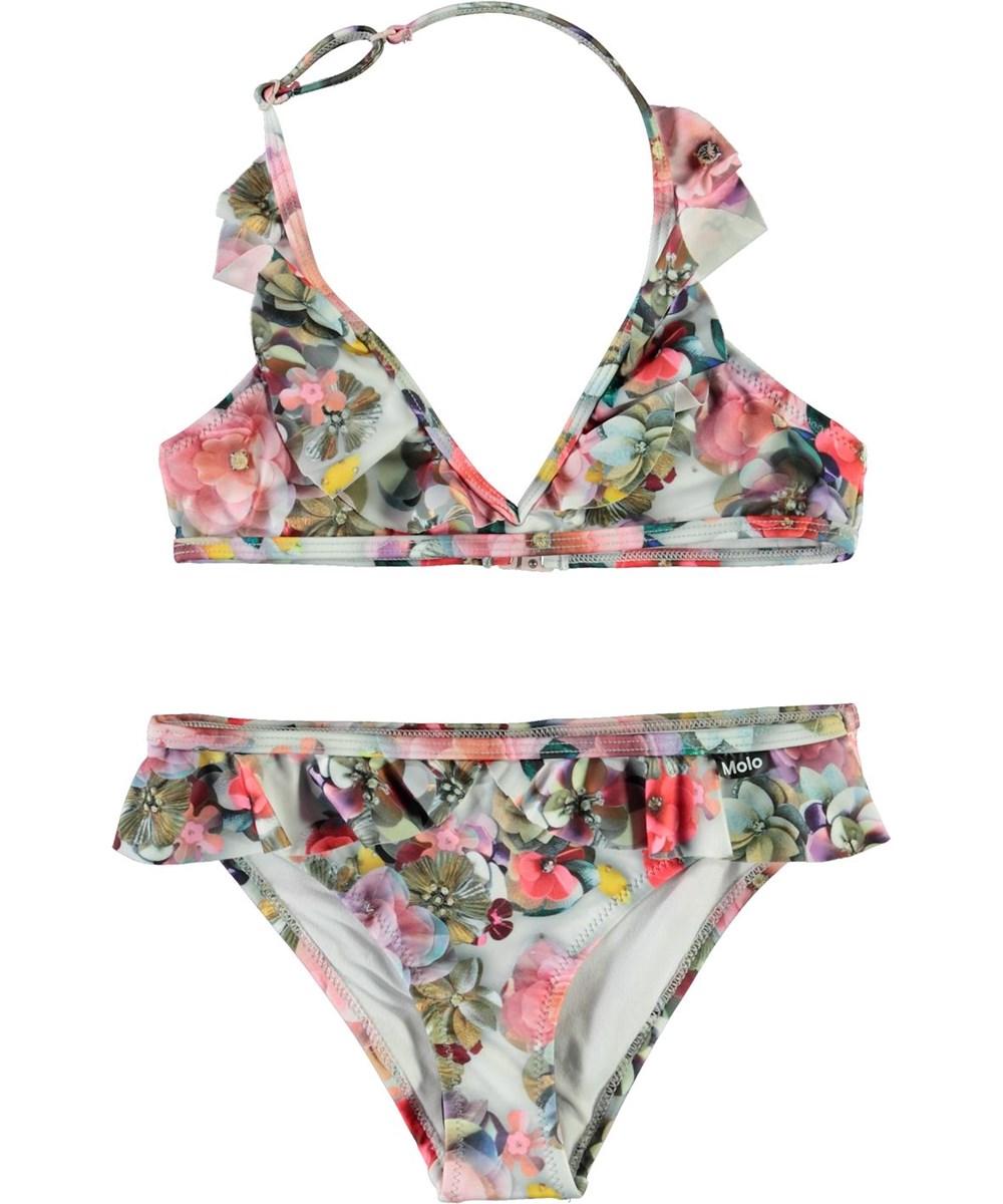 Nele - Sequins Flowers - UV halterneck bikini med blomster