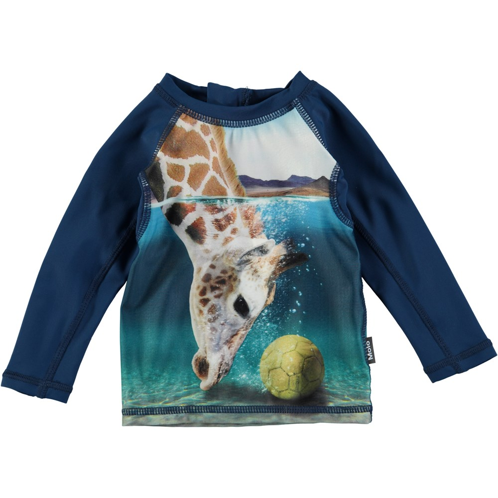 Nemo - Giraffe - Langærmet baby badetrøje med en digitalprintet giraf