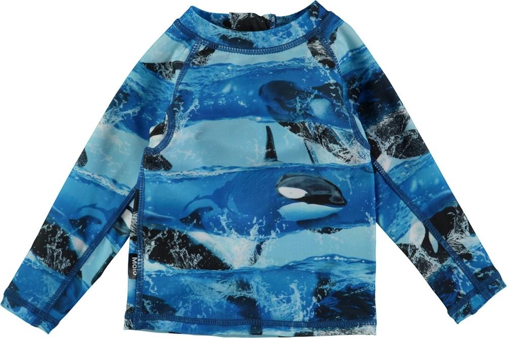 Nemo - Killer Whale - Langærmet baby badetrøje med digitalprintede spækhuggere