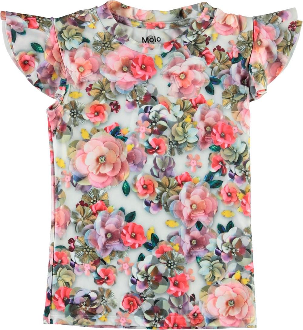 Neona - Sequins Flowers - UV svømmebluse med blomster print
