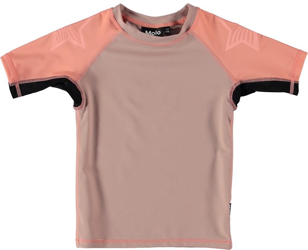 Neptune Block - Rose Sand - Svømme t-shirt i blokfarver