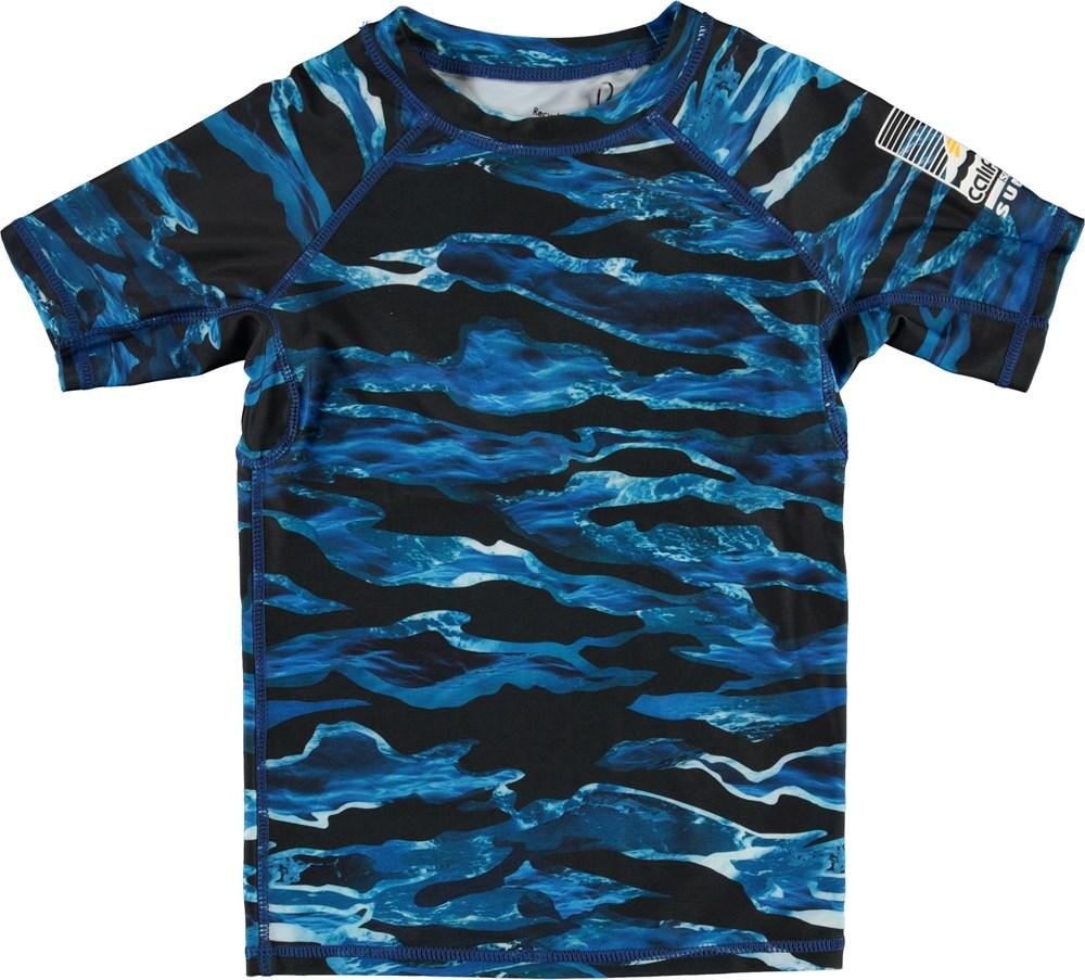 Neptune - Camo Waves - UV svømme t-shirt med blå bølger