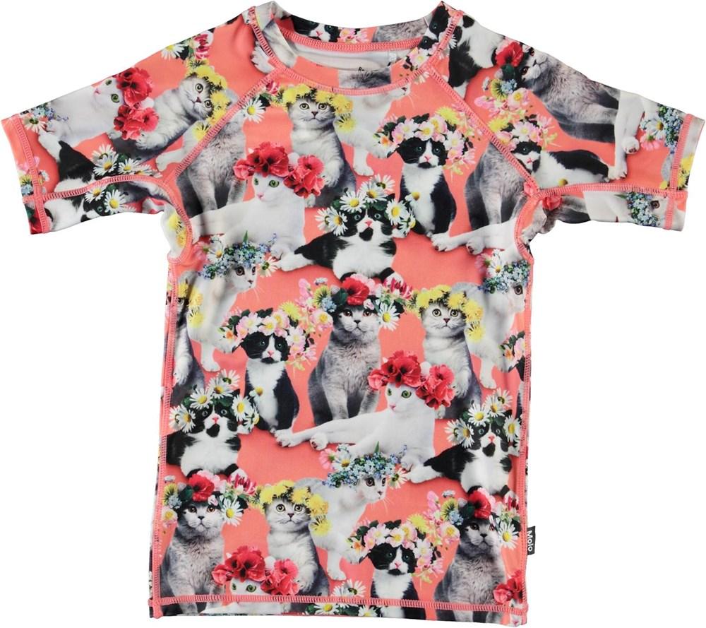 Neptune - Flower Power Cats - UV svømme t-shirt med katte