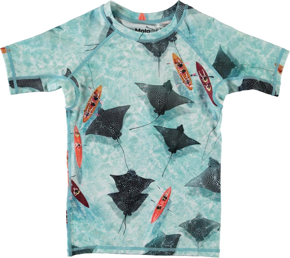 Neptune - Hawaiian Ocean - Lyseblå UV svømme t-shirt med rokker