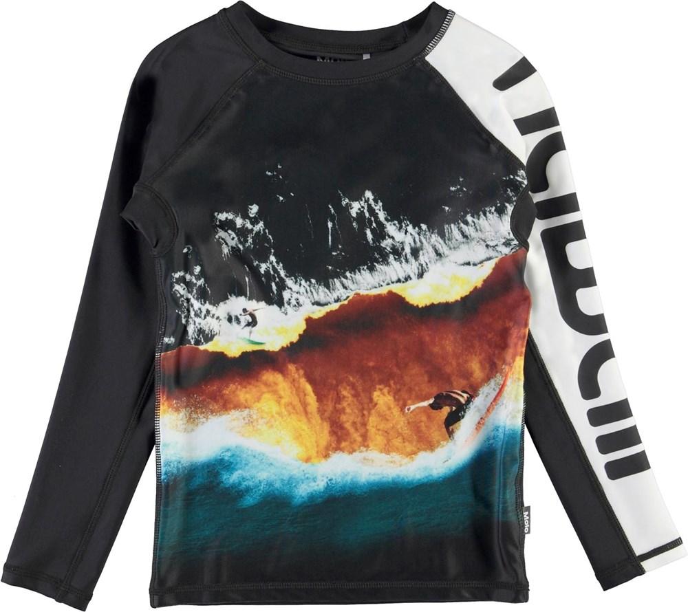 Neptune LS - Colour Block Waves - UV svømme t-shirt med hawaii